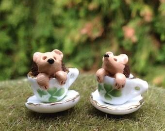 Hedgehog miniature figurine in Irish shamrock tea cup fairy garden accessory