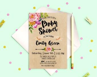 Baby Shower Invitation Kraft Baby Shower Invitation printable Baby Garden Party Floral Baby Shower invite Rustic Invitation download idk5