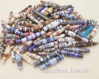 100 Up-cycled 1-1/8 inch Handmade Colorful Magazine Paper Beads, use to make bracelets,earrings, necklaces & more!
