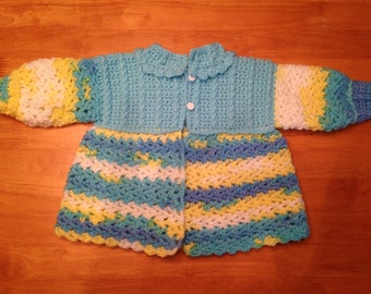 Blue and Yellow Baby Sweater (Sacque)