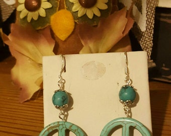 Handmade Faux Turquoise  Peace Earrings