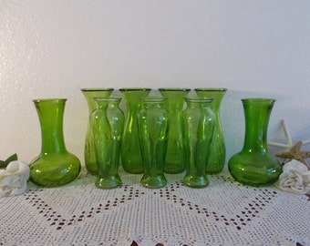 Green Glass Flower Vase Collection Set Decoration Fall Winter Christmas Wedding Reception Table Decoration