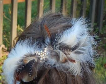 all feather hair  bow