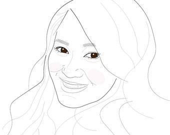 Custom Personalized Digital Portrait. Minimal Line Drawing