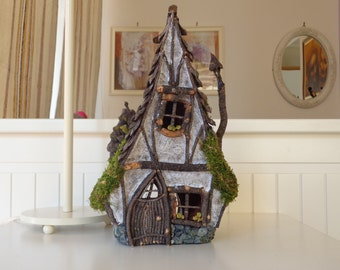 Fairy house, Rustic wooden candle holder house