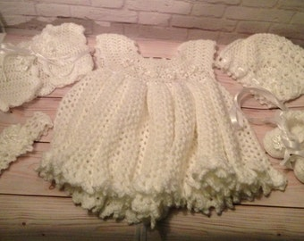 Crochet Christening Gown Set -  Crochet Baptism Dress Set - Crochet Baby Party Dress -  Baby Gift - Infant Clothes - Baby Shower Gift