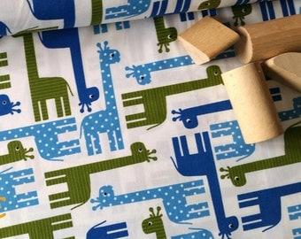 Giraffes on white quality cotton