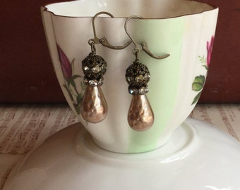 Cream in your coffee - unique vintage assemblage earrings