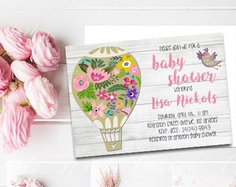 Baby shower invitation Hot air balloon baby shower invite Summer baby shower invite Floral baby shower invitation Hippie shower invitation