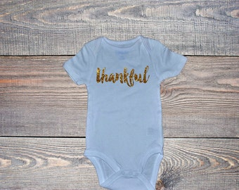 Just the Iron on | Thankful Glitter Iron On for Onesies® or Toddler T shirts | Thanksgiving Iron on Decal