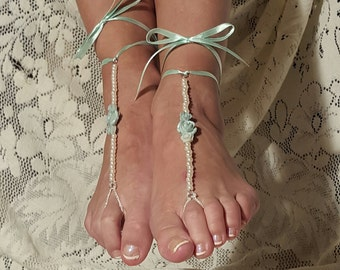Wedding Beach Sandals,Barefoot Sandals,Foot Jewelry,Ankle Sandals,Wedding night Apparel,Bridesmaid's Gift's,Poolside Sandals,Gifts for Her