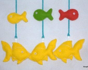 Baby mobile, nursery mobile, felt fish, felt goldfish, goldfish mobile, mobile hanging, baby mobile hanging, goldfish hanging