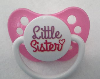 "Pink ""little sister"" pacifier for reborn baby dolls. Magnetic or putty. Your choice!"