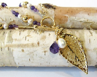 Gold Dipped Leaf Necklace, Handmade Autumn Jewelry, Nature Inspired Adjustable Length Necklace, Amethyst and Genuine Freshwater Pearls