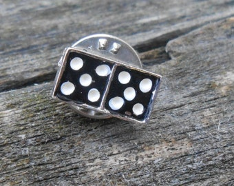 Vintage Silver Domino Pin . 1980s.. Gift For Groomsmen, Groom, Dad, Husband.