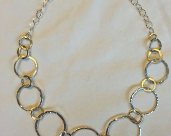 Fine Silver Circle Link Chain Necklace, Handmade