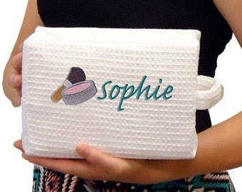 Costmetic bag, monogrammed spa bag, spa bag, travel bag, wedding party gifts, waffle weave cosmetic bag personalized.