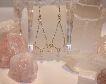Pink pearl chandelier earrings
