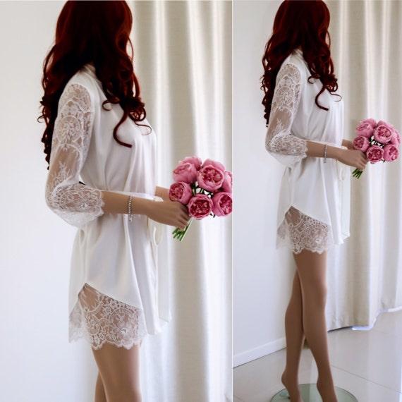 Bridal Robe To Get Ready In: White Bridal Robe/ Silk Bridal Robe/ Lace Sleeve Robe/ Wedding
