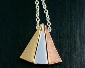 Mixed Metal Triangle Bead Necklace
