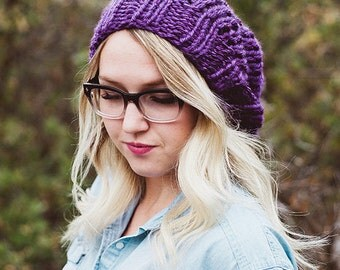 THE SUPER SLOUCH - Hand knit slouchy beanie - Violet