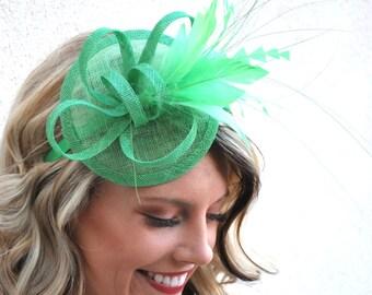 Kelly Green Fascinator, Tea Party Hat, Church Hat, Derby Hat, Fancy Hat, Kelly Green, Tea Party Hat, wedding hat,  womens hat