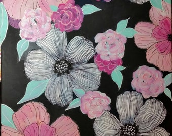 Pink and White Doodle Flowers
