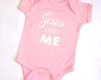 Jesus Loves Me Onesie, Pink