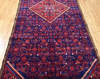 "3'9"" x 9'10"" Persian Hamadan Floor Runner Oriental Rug - Hand Made - 100% Wool - Vintage - 1980s"