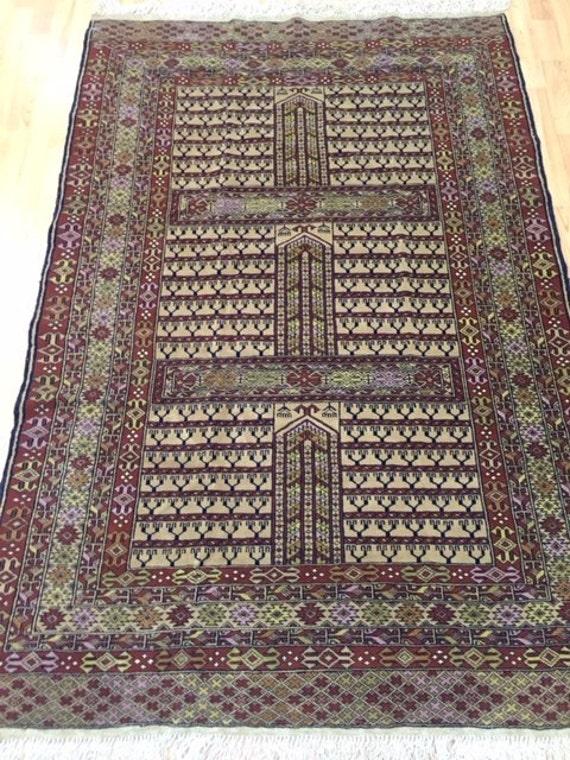 "4'2"" x 6'2"" Pakistani Echelo Oriental Rug - Very Fine - Hand Made - 100% Wool"