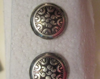 silver and black filigree post earrings