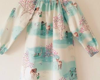 SALE Peasant style toddler girl long sleeve dress size 3 - Girls dress, girls top, baby girl dress - UK seller, handmade, luxury, cotton