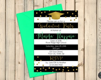 Black and White Graduation Invitation, Mint, Black & White Stripe, Gold Confetti Graduation Party Invite, Glitter Graduation Party, DIGITAL