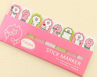 Cute Fituess Pig Sticky Notes / Fitness Stick Marker / Cute Sticky Notes / Kawaii Sticky Notes / Post-It / Cute Animal Sticky Notes Tabs