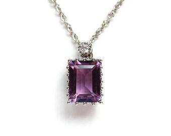SALE 15% off - Stunning Amethyst Pendant Necklace, Purple Quartz, Emerald Cut Gemstone, 925 Sterling Silver, February Birthstone