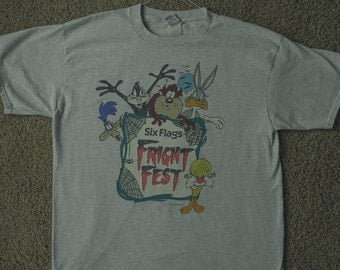 Six Flags Fright Fest 1990s Retro T-Shirt Looney Tunes