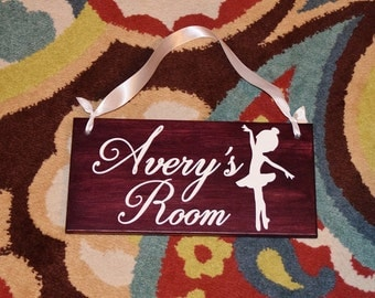 Ballerina Personalized Kids Room Sign, Baby's Room, Nursery. Baby Shower/ Birthday Gift. Hand Painted - Any Name - Custom Made = Options!!