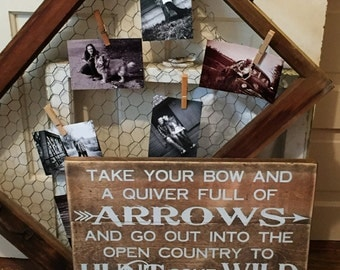 Genesis 27 Wood Sign • Hunting sign • Bow Quiver Wild Game • Bible Verse Plaque • Scripture Sign • Rustic decor • Stained Country Decor
