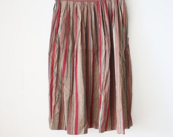 90s Striped Skirt, Deep red Cotton High waist skirt, Medium 868