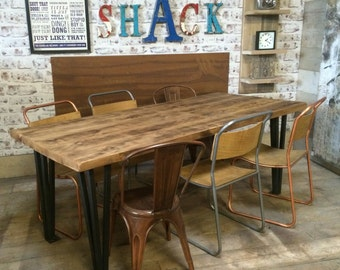 Vintage Industrial Hairpin Leg Rustic Reclaimed Plank Top Dining Table UK Made