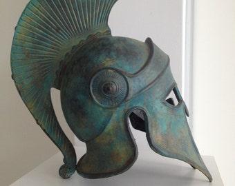 Bronze Greek Helmet,Ancient Corinthian Helmet,Metal Sculpture,Ancient Greece Armor Helmet,Larp Helmet,Cosplay Helmet,Greece Аntique Аrmor
