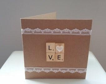 Love Wedding/Engagement/Anniversary Scrabble Card