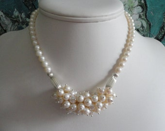 Pearl necklace and earring set  -   #443