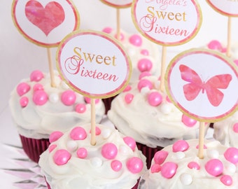 Sweet 16 Cupcake Toppers Watercolor Floral Sweet Sixteen Cupcake Toppers Sweet 16 Party Sticker