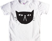 Black Cat Tee, Kids halloween shirt, halloween outfit, cat lady t shirt, baby toddler halloween, modern monochrome kids t, unisex graphic t
