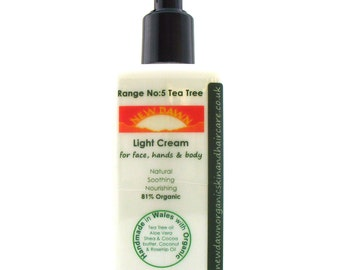Tea Tree Organic Light Moisturiser ~ Organic Skin Care ~ Vegan ~ Handmade Cream - Coconut, Shea Butter & Cocoa