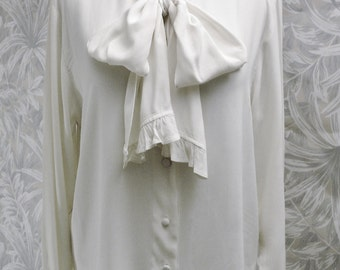 Carole Little Classic Blouse - Bow Tied Soft Cream -Size 12-Made in U.S.A.