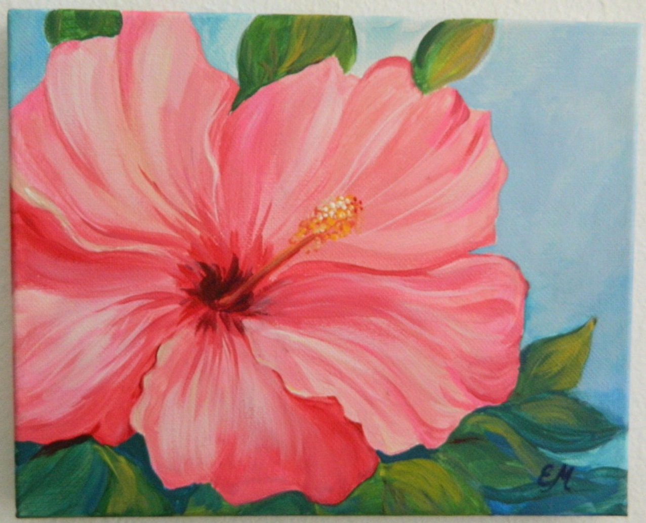 Original hibiscus flower pink hibiscus flower canvas gift for Flower paintings on canvas