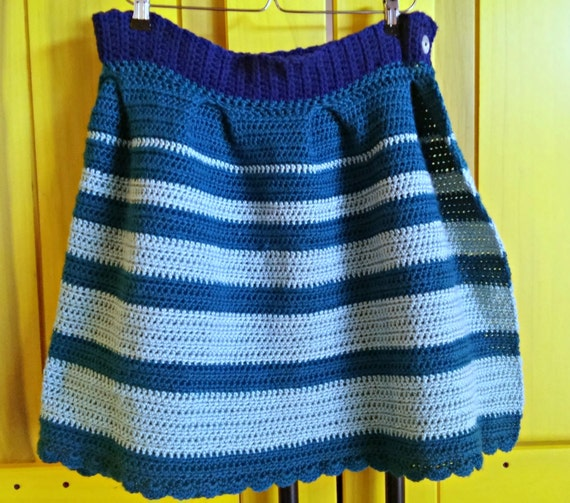 Striped crochet pleated wrap skirt -- made to order