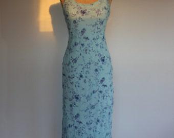 Vintage Blue Floral Summer Maxi Dress
